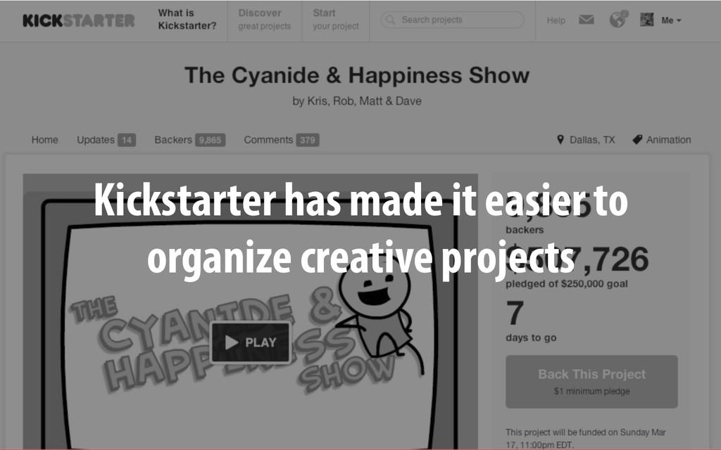 Kickstarter has made it easier to organize crea...