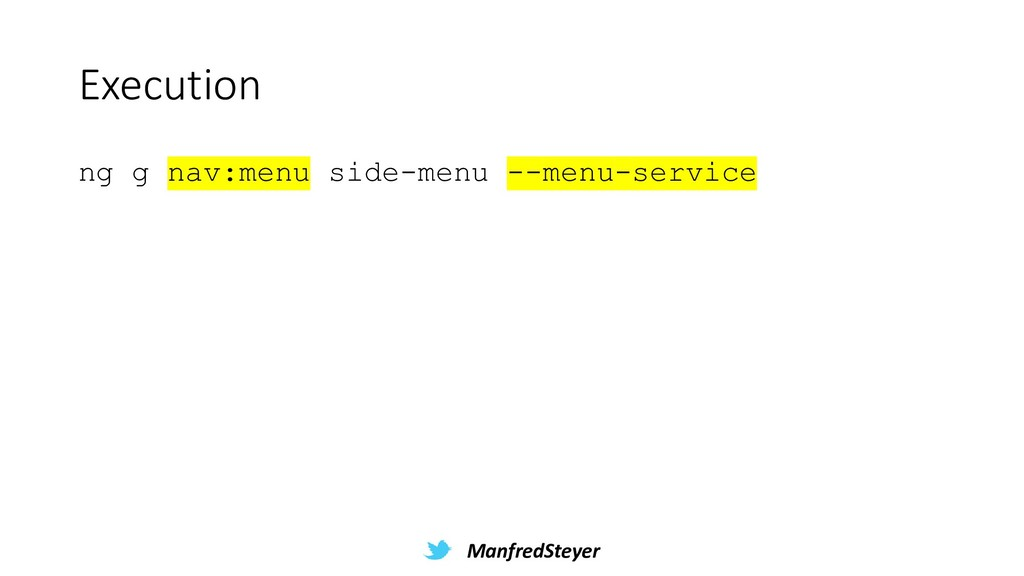ManfredSteyer Execution ng g nav:menu side-menu...