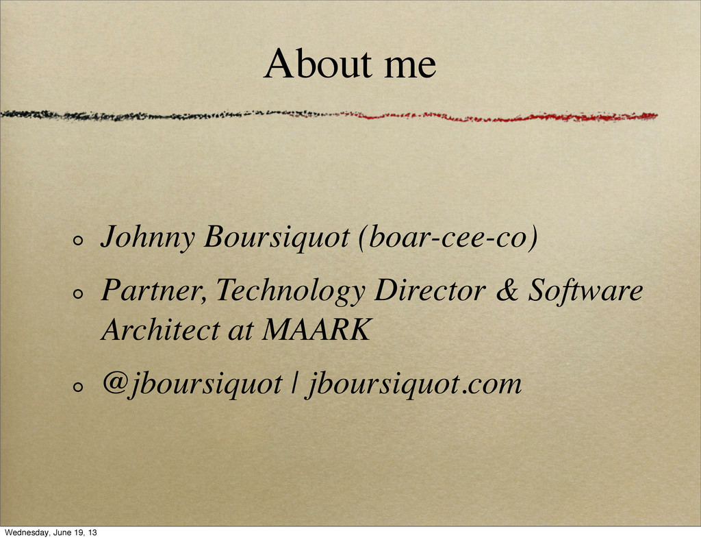 About me Johnny Boursiquot (boar-cee-co) Partne...