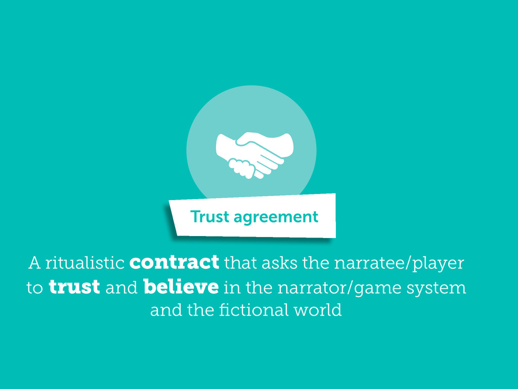 A ritualistic contract that asks the narratee/p...