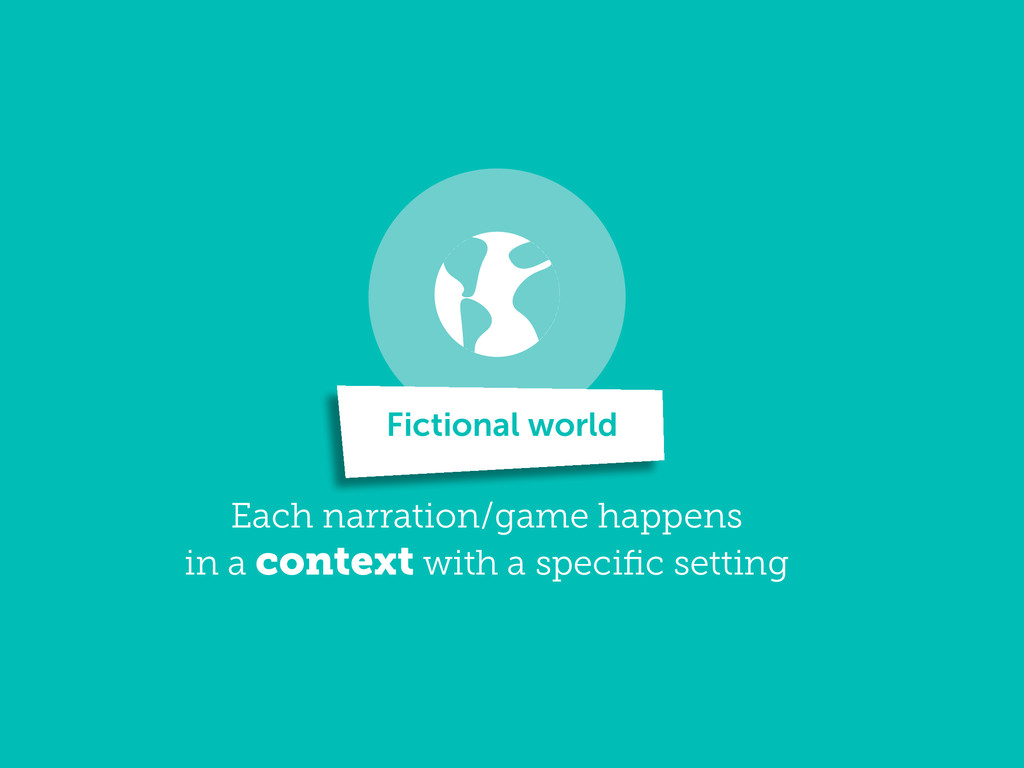 Each narration/game happens in a context with a...