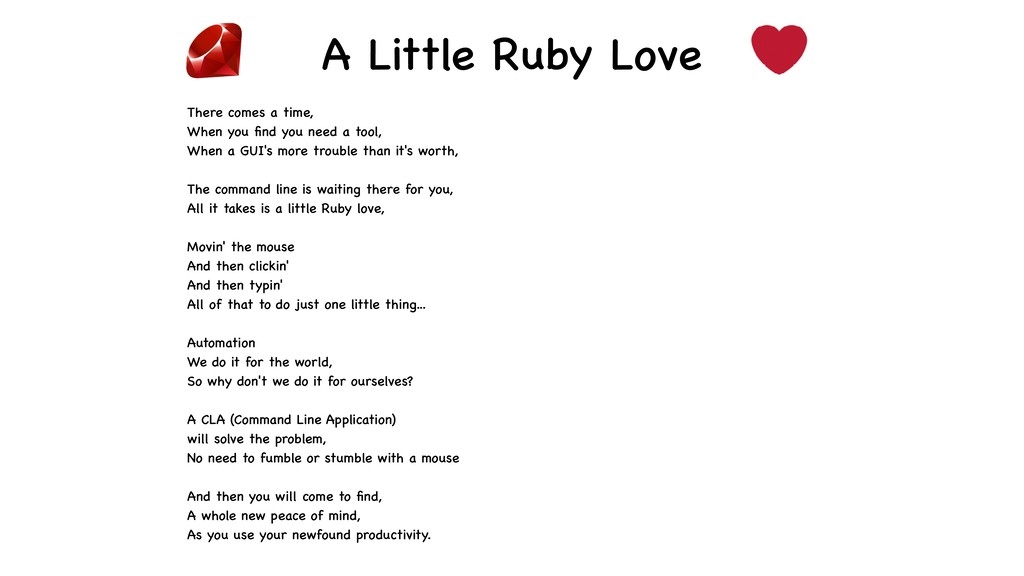 A Little Ruby Love There comes a time, When you...