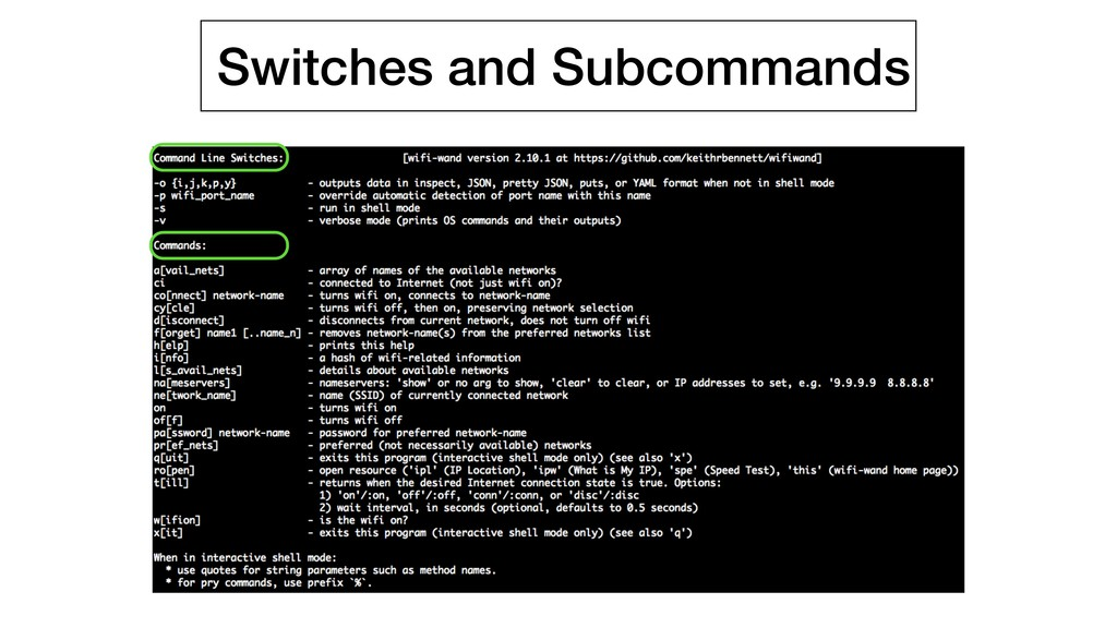 Switches and Subcommands