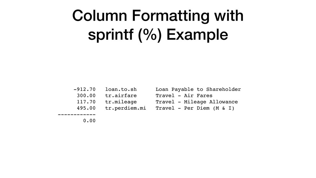 Column Formatting with sprintf (%) Example -912...