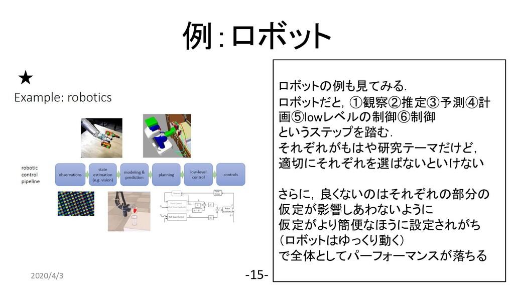 例:ロボット 2020/4/3 -15- ロボットの例も見てみる. ロボットだと,①観察②推定...