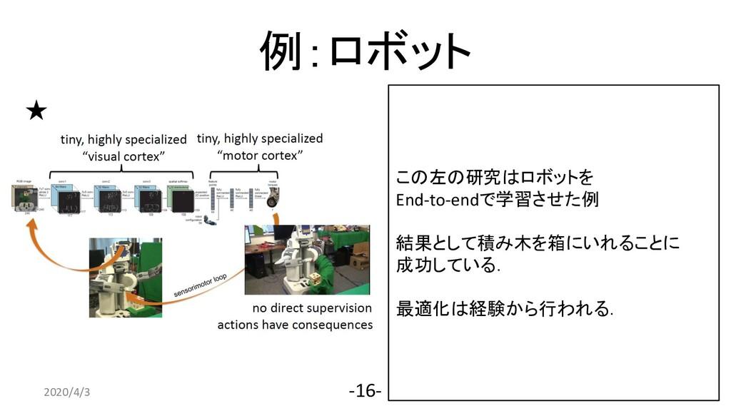 例:ロボット 2020/4/3 -16- この左の研究はロボットを End-to-endで学習...