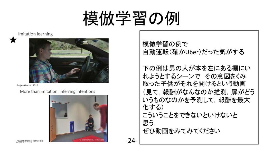 模倣学習の例 2020/4/3 -24- 模倣学習の例で 自動運転(確かUber)だった気がす...