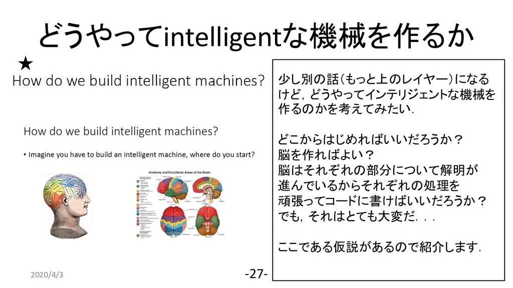 どうやってintelligentな機械を作るか 2020/4/3 -27- 少し別の話(もっと...