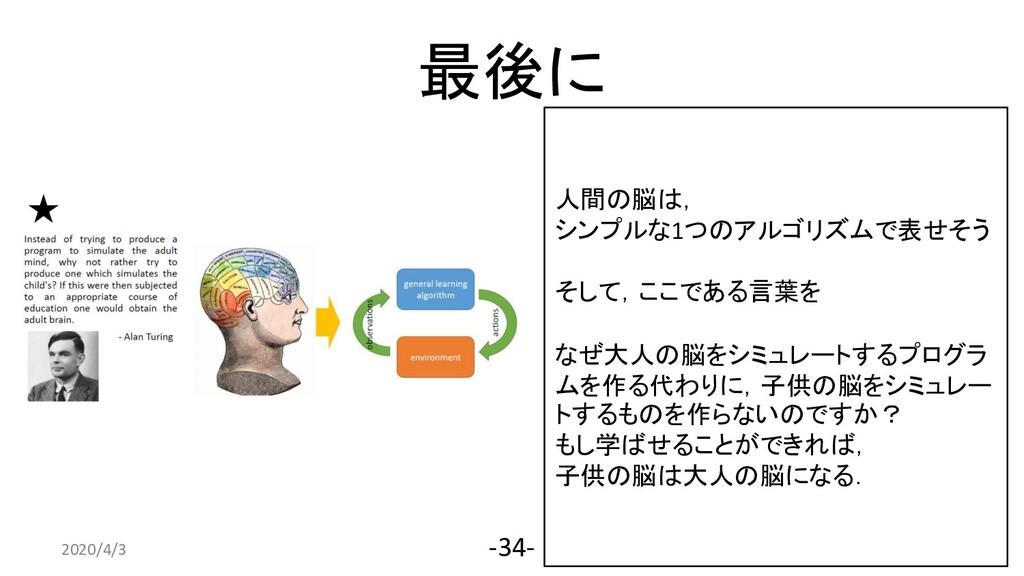 最後に 2020/4/3 -34- 人間の脳は, シンプルな1つのアルゴリズムで表せそう そし...