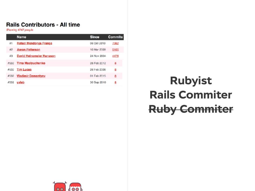 Rubyist Rails Commiter Ruby Commiter