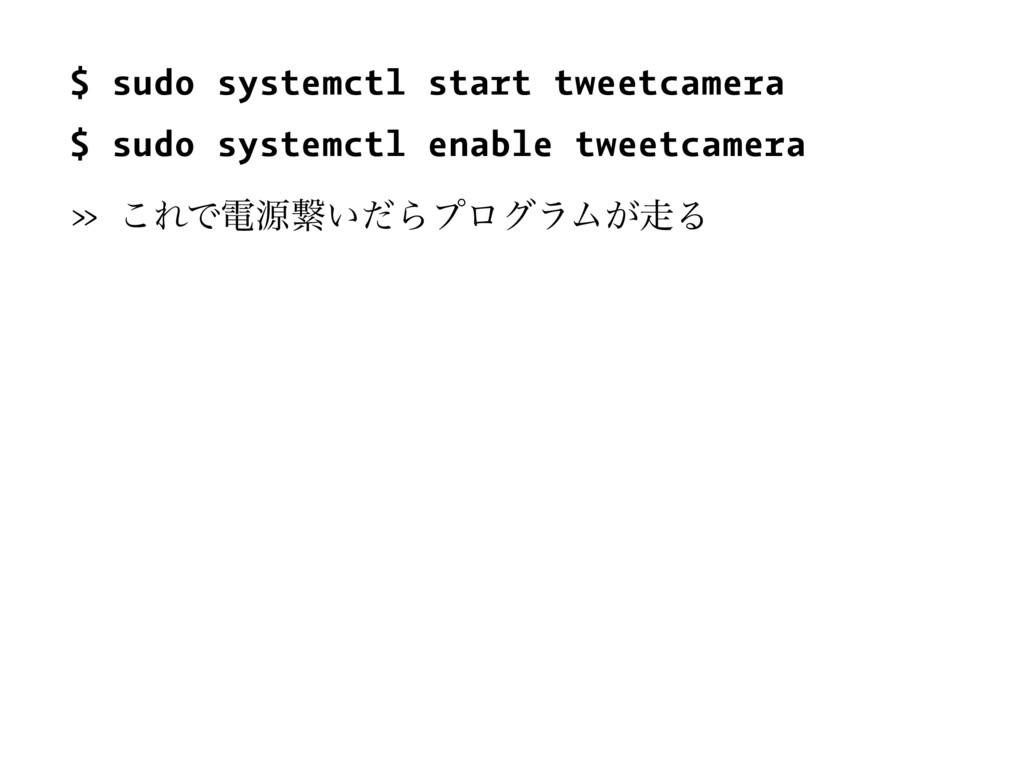 $ sudo systemctl start tweetcamera $ sudo syste...
