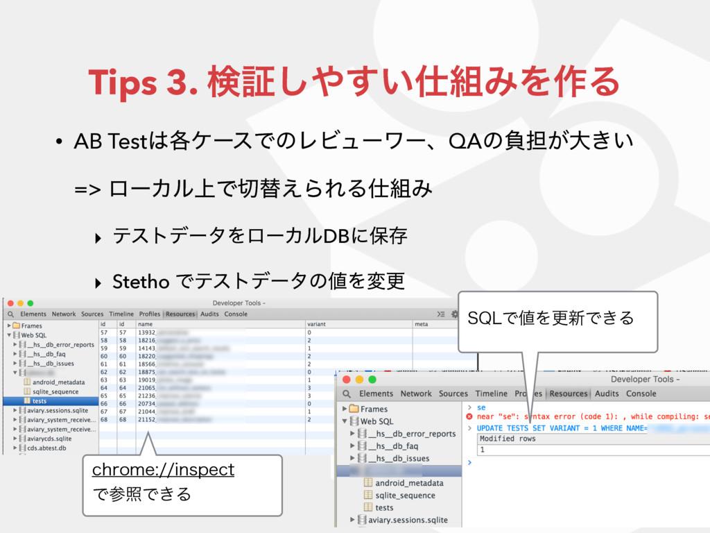 Tips 3. ݕূ͍͢͠ΈΛ࡞Δ • AB Test֤έʔεͰͷϨϏϡʔϫʔɺQAͷ...