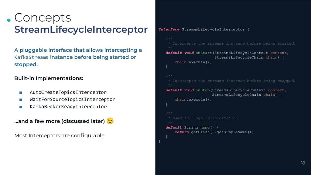 . . . 18 StreamLifecycleInterceptor Concepts In...