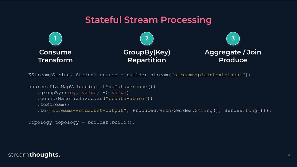 4 KStream<String, String> source = builder.stre...