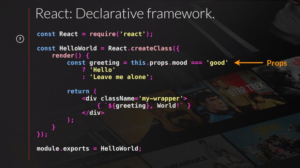 7 React: Declarative framework. const React = r...