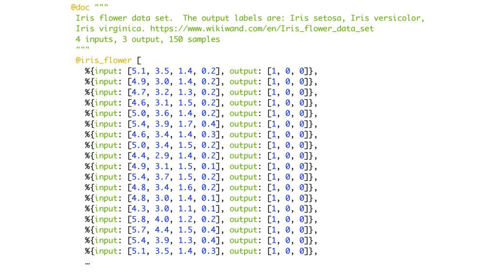 "@doc """""" Iris flower data set. The output label..."