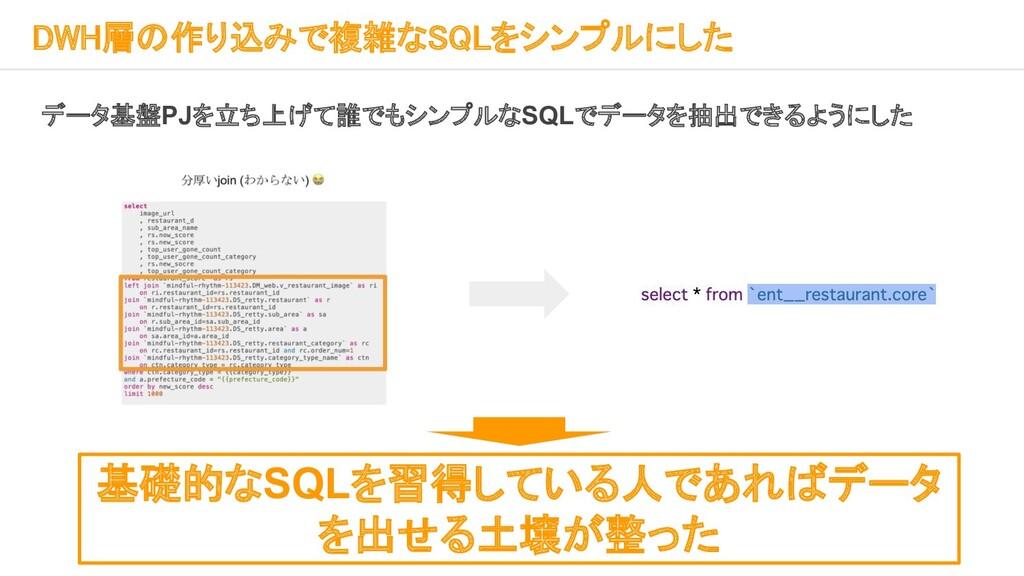 DWH層の作り込みで複雑なSQLをシンプルにした    データ基盤PJを立ち上げて誰で...