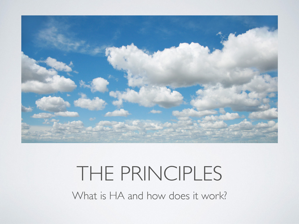 THE PRINCIPLES What is HA and how does it work?