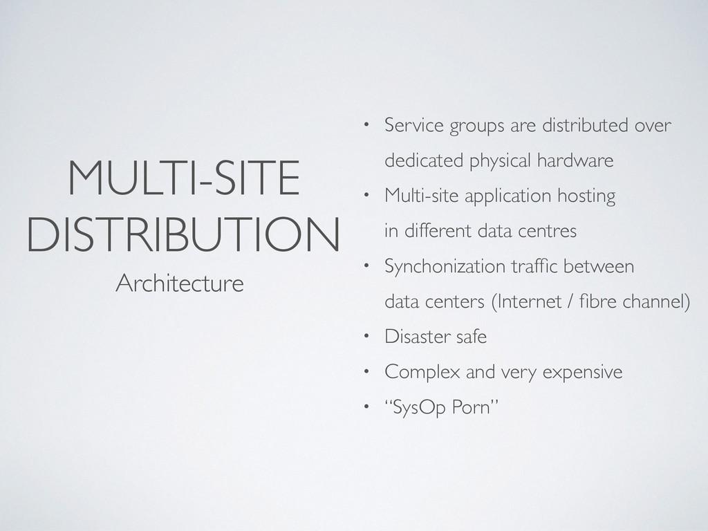 MULTI-SITE DISTRIBUTION Architecture • Service ...