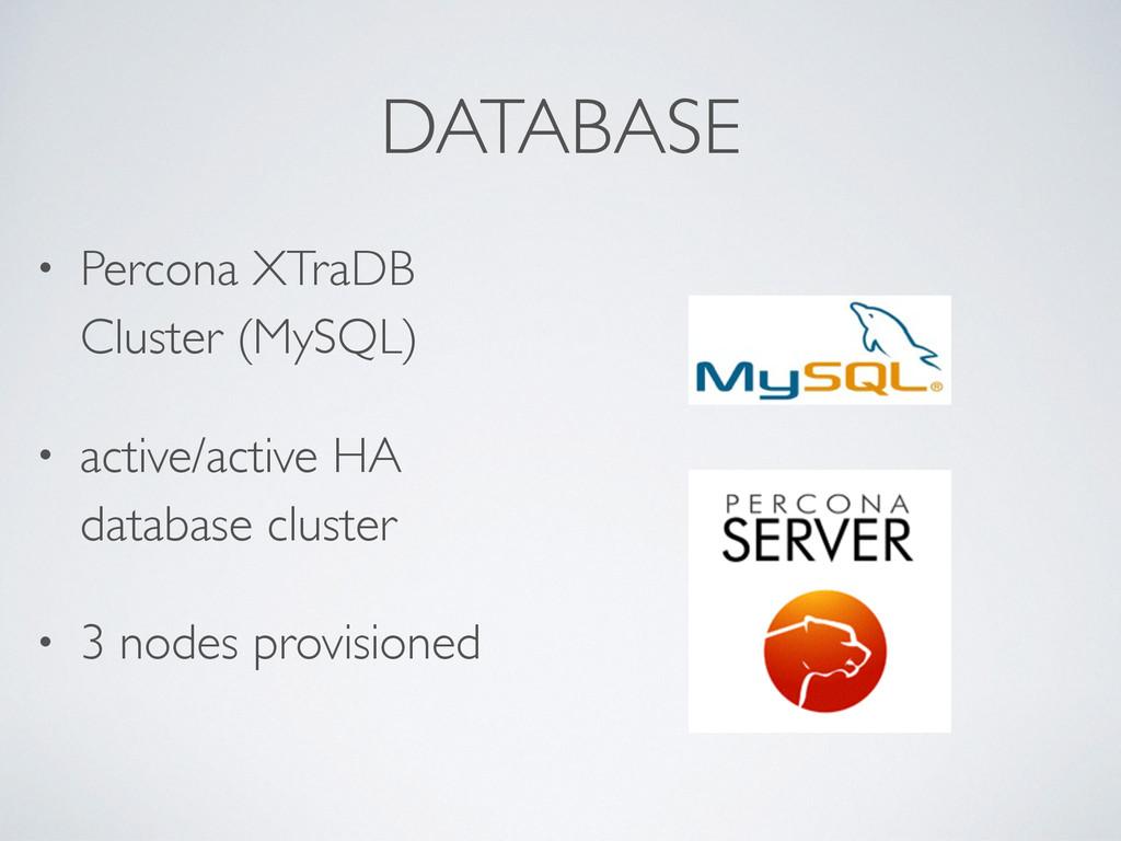 DATABASE • Percona XTraDB Cluster (MySQL) • act...