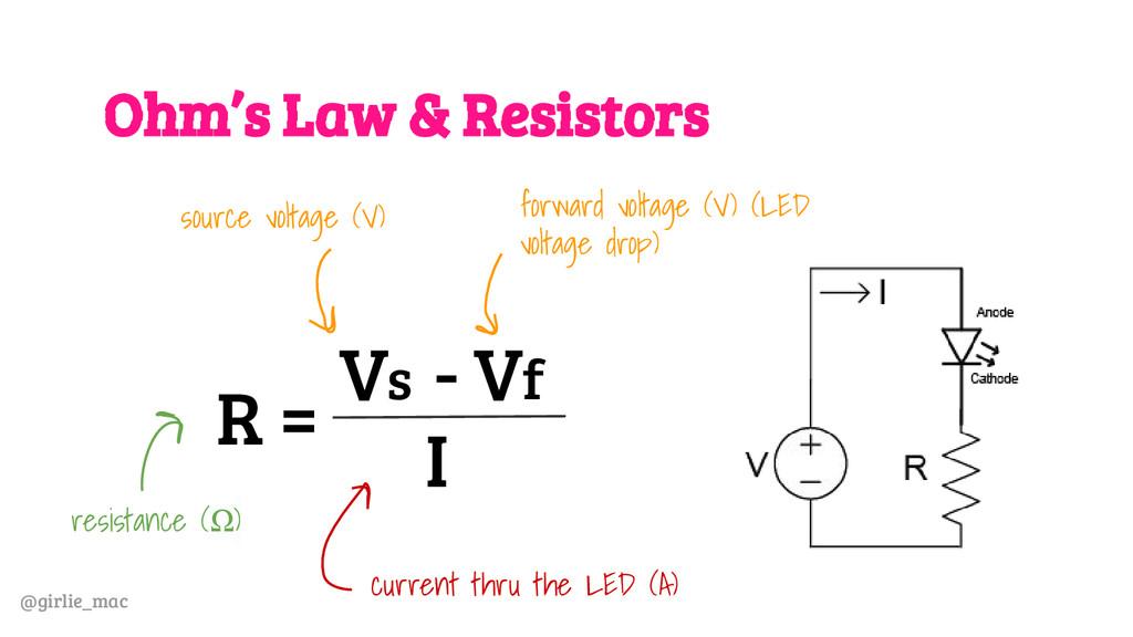 @girlie_mac Ohm's Law & Resistors R = V - V s f...