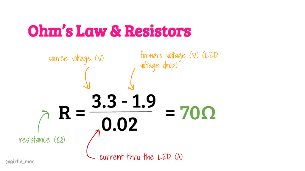 @girlie_mac Ohm's Law & Resistors R = 3.3 - 1.9...