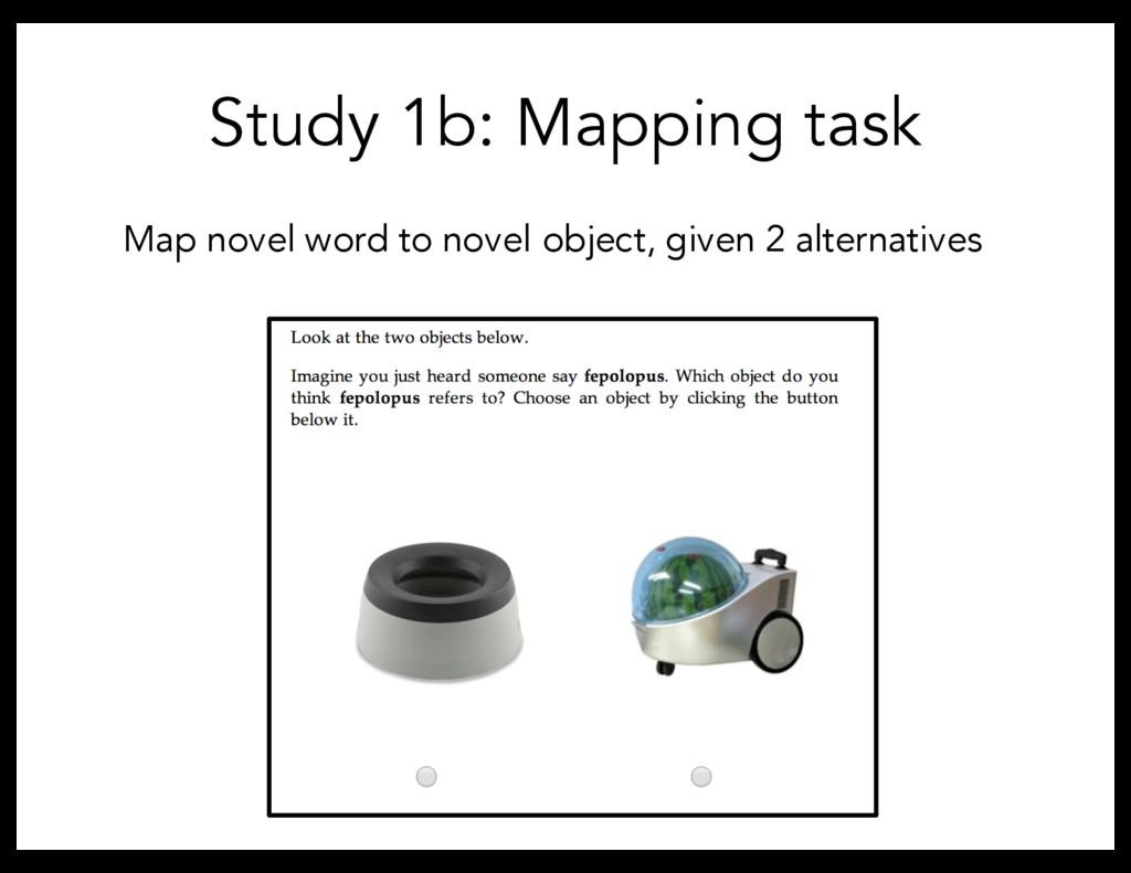Study 1b: Mapping task Map novel word to novel ...