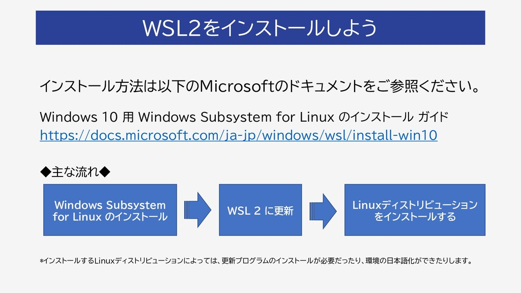 WSL2をインストールしよう インストール方法は以下のMicrosoftのドキュメントをご参照...