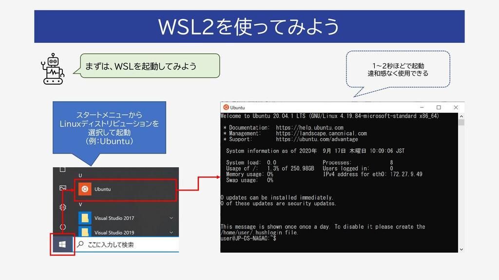 WSL2を使ってみよう まずは、WSLを起動してみよう スタートメニューから Linuxディス...