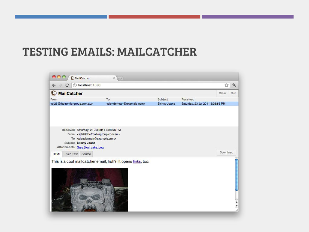 TESTING EMAILS: MAILCATCHER