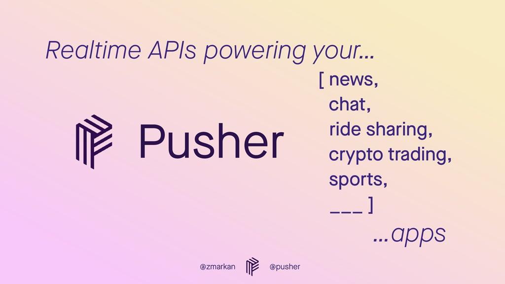 @zmarkan @pusher Realtime APIs powering your… [...