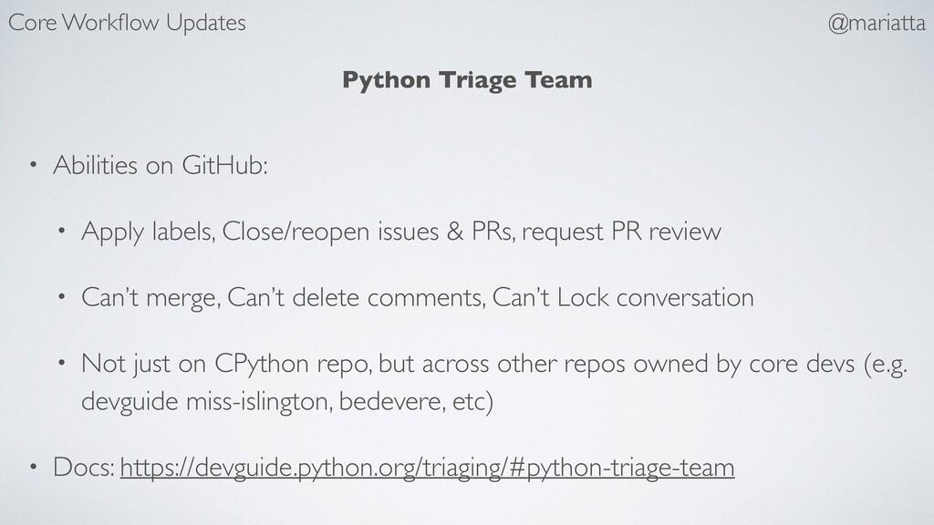 Python Triage Team • Abilities on GitHub: • App...
