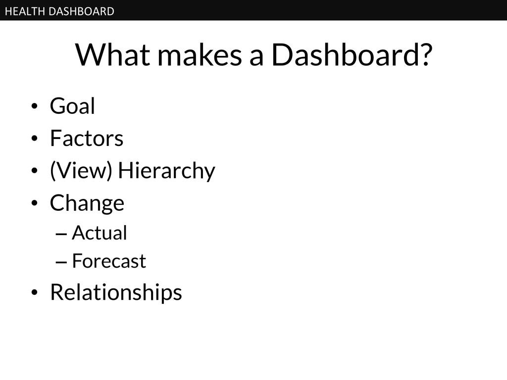 HEALTH DASHBOARD  What makes a Dashboard?...