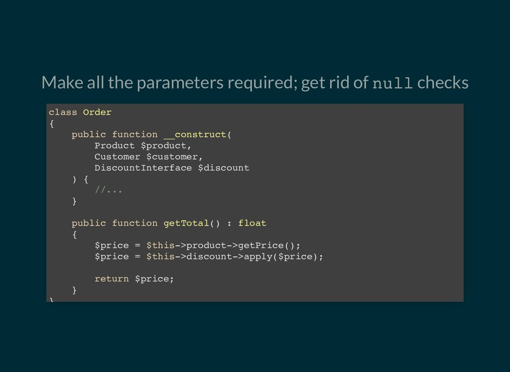 Make all the parameters required; get rid of nu...