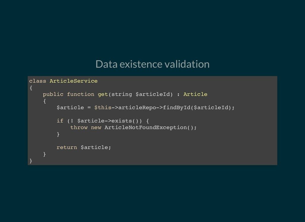 Data existence validation class ArticleService ...