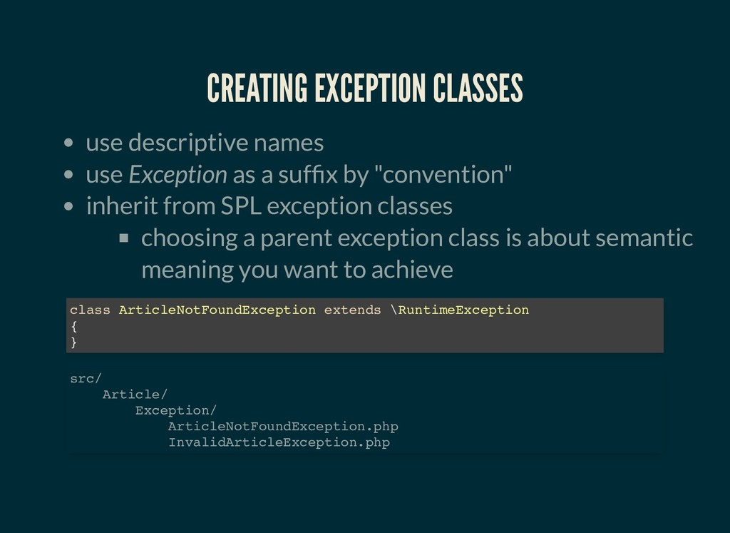 CREATING EXCEPTION CLASSES CREATING EXCEPTION C...