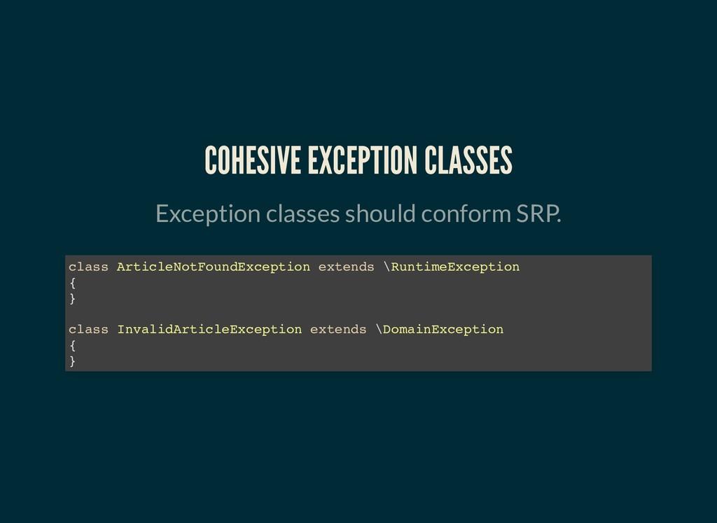 COHESIVE EXCEPTION CLASSES COHESIVE EXCEPTION C...