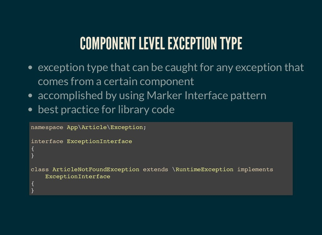 COMPONENT LEVEL EXCEPTION TYPE COMPONENT LEVEL ...