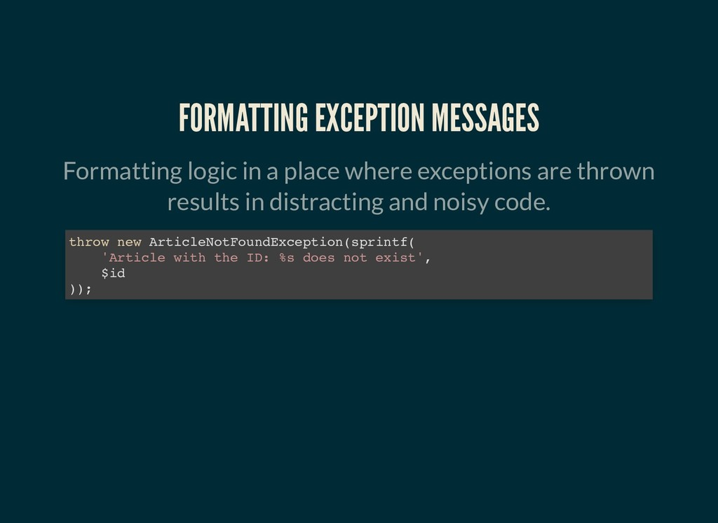 FORMATTING EXCEPTION MESSAGES FORMATTING EXCEPT...