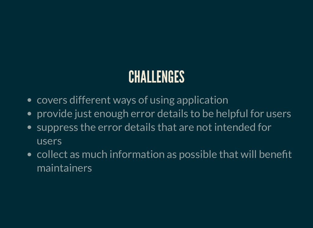CHALLENGES CHALLENGES covers different ways of ...