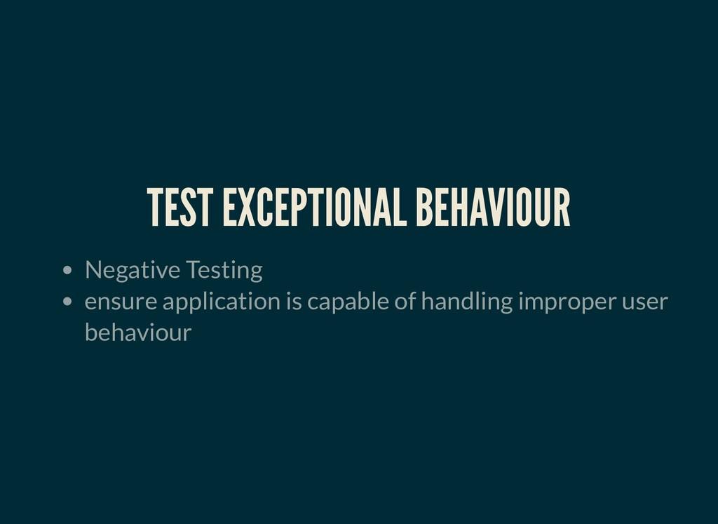 TEST EXCEPTIONAL BEHAVIOUR TEST EXCEPTIONAL BEH...