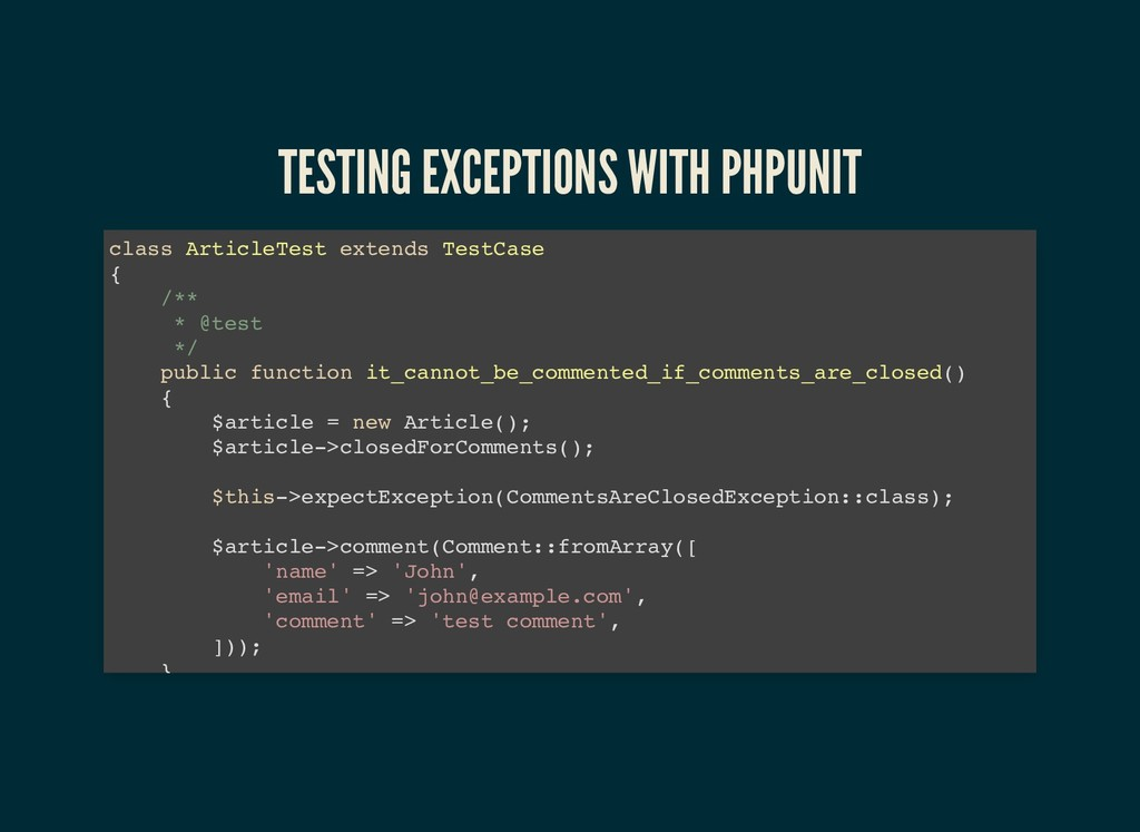 TESTING EXCEPTIONS WITH PHPUNIT TESTING EXCEPTI...