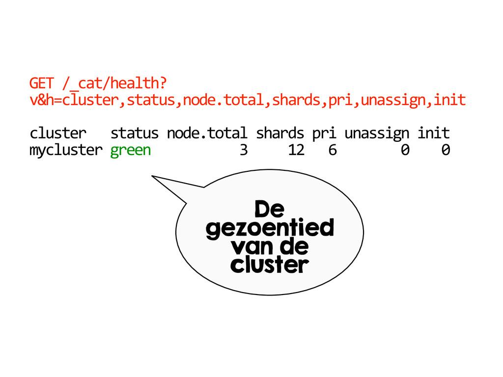 GET /_cat/health? v&h=cluster,status,node.tota...
