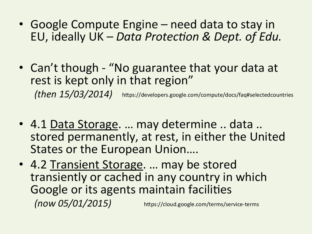 • Google Compute Engine – need ...