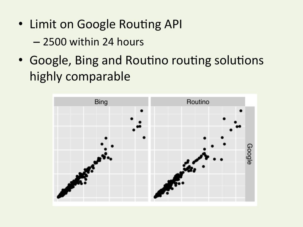 • Limit on Google RouYng API  –...