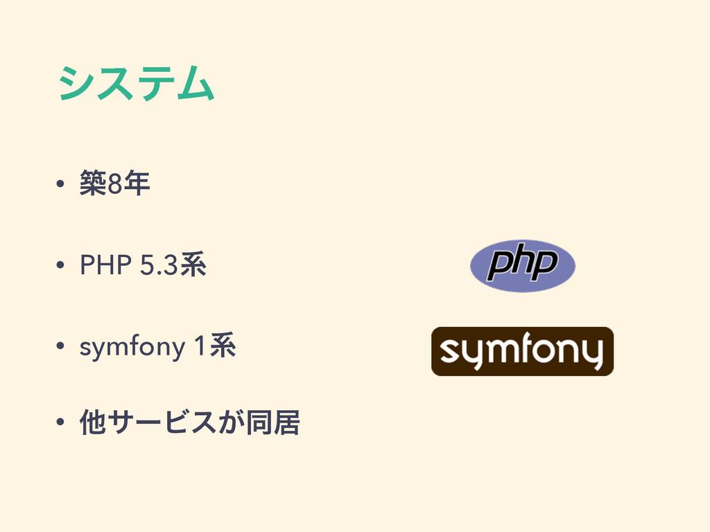 γεςϜ • ங8 • PHP 5.3ܥ • symfony 1ܥ • ଞαʔϏε͕ಉډ