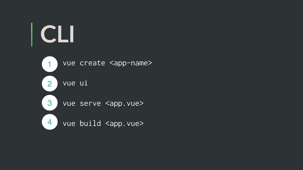 CLI vue create <app-name> vue ui vue serve <app...