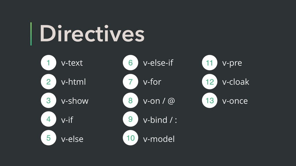 Directives v-text v-html v-show v-if v-else 1 2...