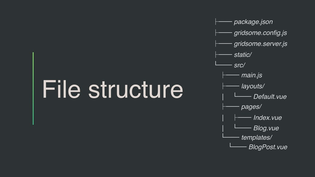 File structure ├── package.json ├── gridsome.co...