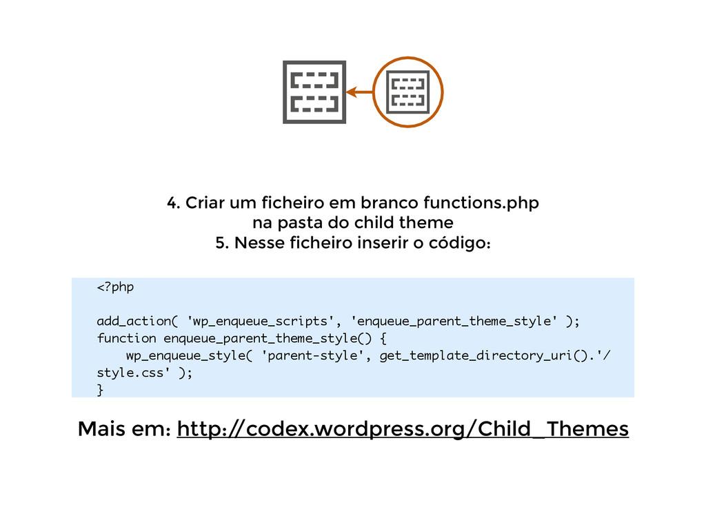 4. Criar um ficheiro em branco functions.php  ...